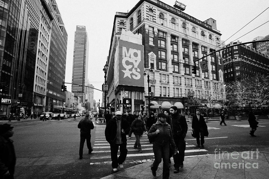 Usa Photograph - Pedestrians Cross Crosswalk Crossing Of 6th Avenue Broadway And 34th Street At Macys New York Usa by Joe Fox