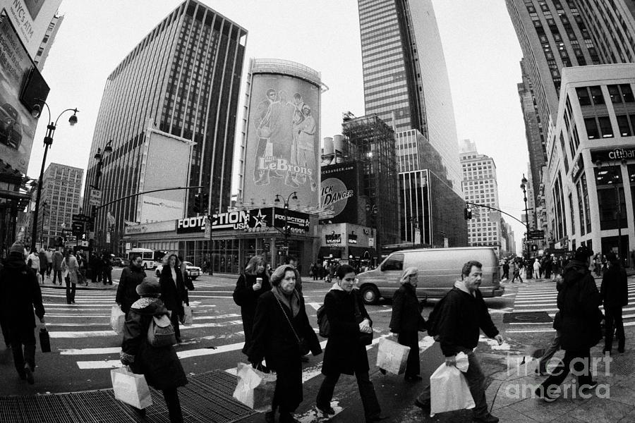 Usa Photograph - Pedestrians Crossing Crosswalk On 7th Ave And 34th Street Outside Macys New York City Usa by Joe Fox