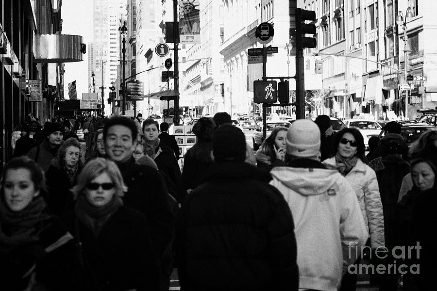 Busy Street Sidewalk Pedestrians Walk Up A ...