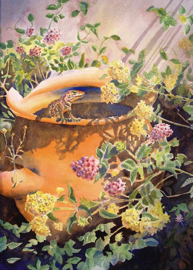 Lizard Painting - Peek-a-boo by Deb  Harclerode