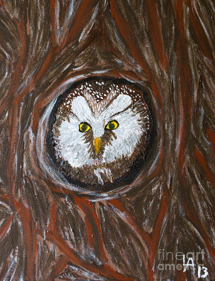Owl Painting - Peek A Boo by Lloyd Alexander