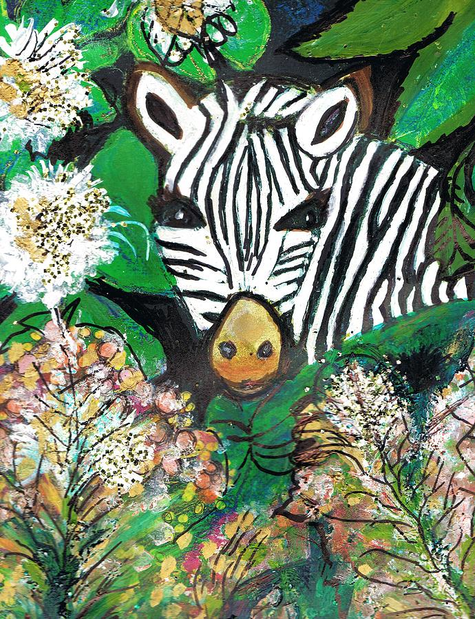 Zebra Painting - Peek-a-boo Zebra by Anne-Elizabeth Whiteway