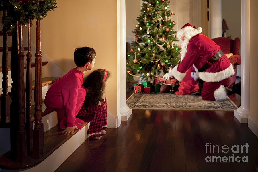 Christmas Photograph - Peeking At Santa by Diane Diederich