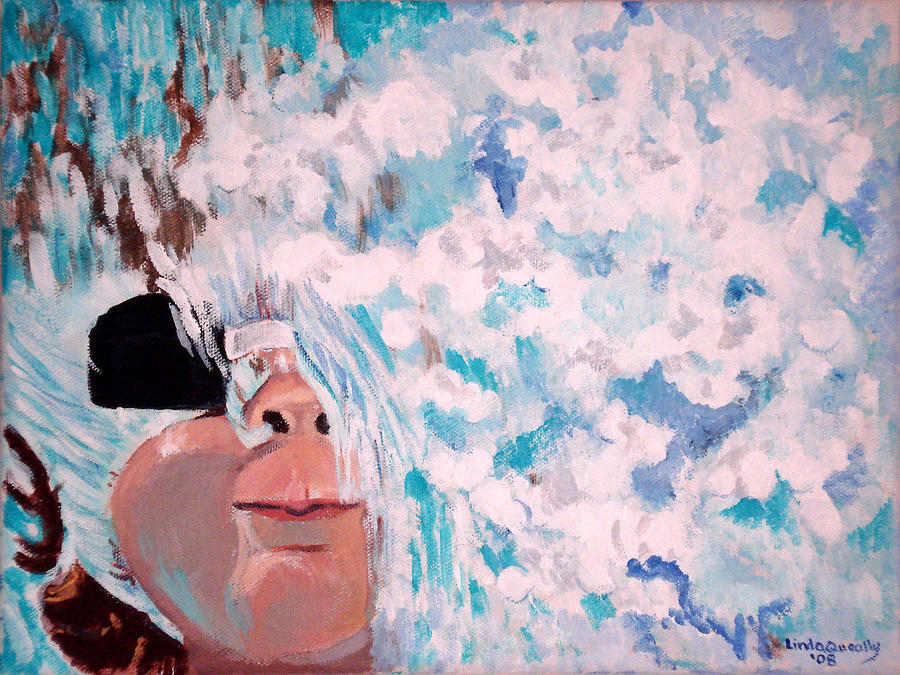 Swimming Painting - Peeking by Linda Queally