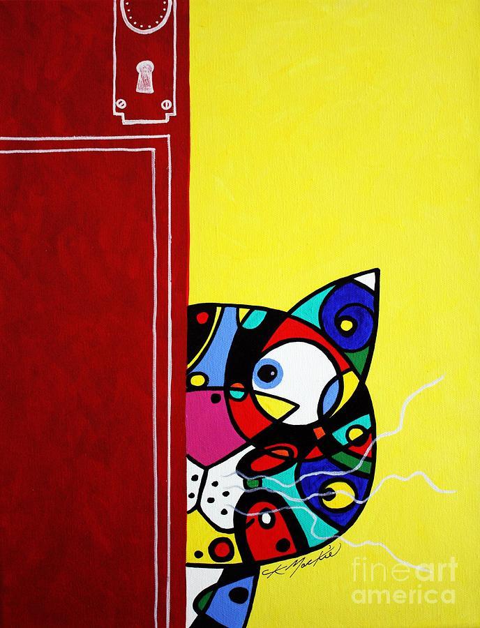 Cat Painting - Peeping Tom by Chris Mackie