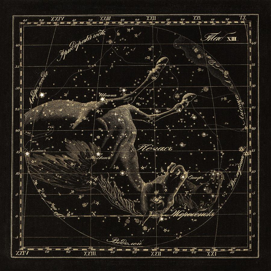 Pegasus Photograph - Pegasus Constellations, 1829 by Science Photo Library