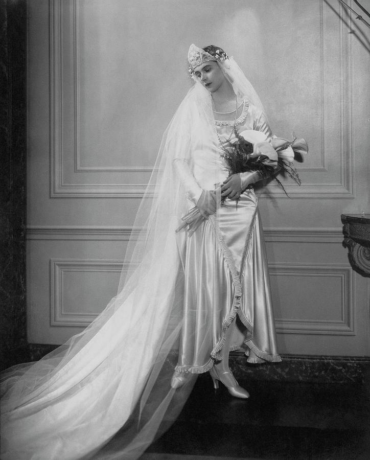 Peggy Fish Wearing A Wedding Dress Photograph by Edward Steichen