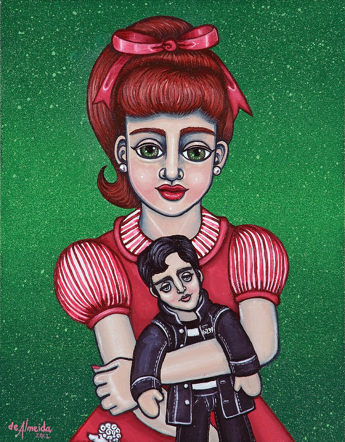 1950s Painting - Peggy Sue Holding The King by Victoria De Almeida
