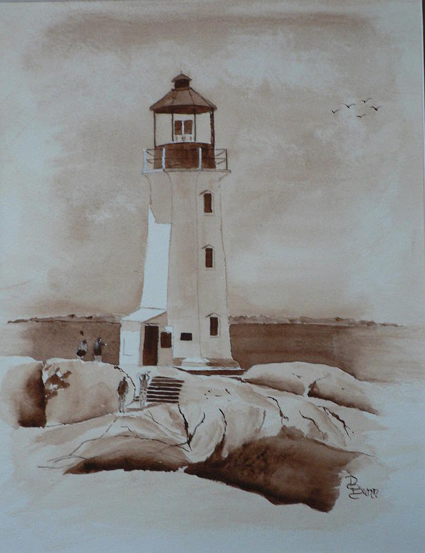 Peggy's Cove Lighthouse Painting - Peggys Cove 2 by Dianne Bunn