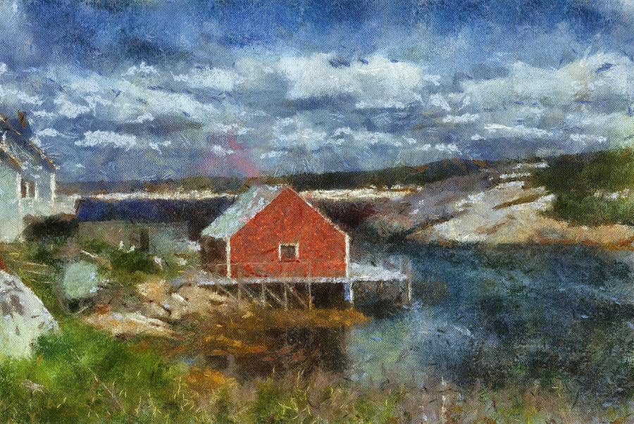 Digital Painting Digital Art - Peggys Cove by Cindy Rubin