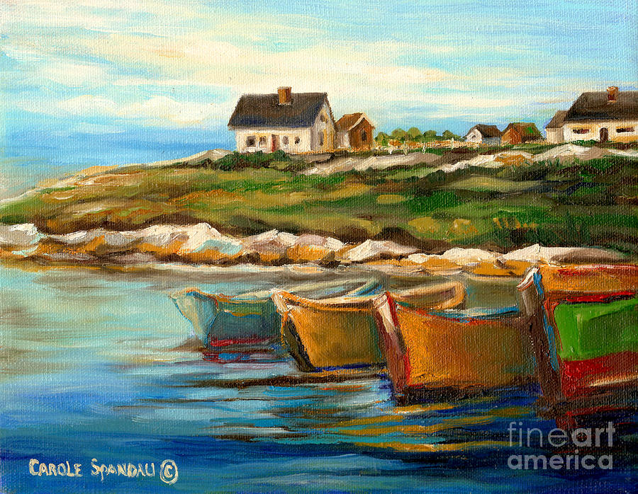 Peggys Cove Painting - Peggys Cove With Fishing Boats by Carole Spandau