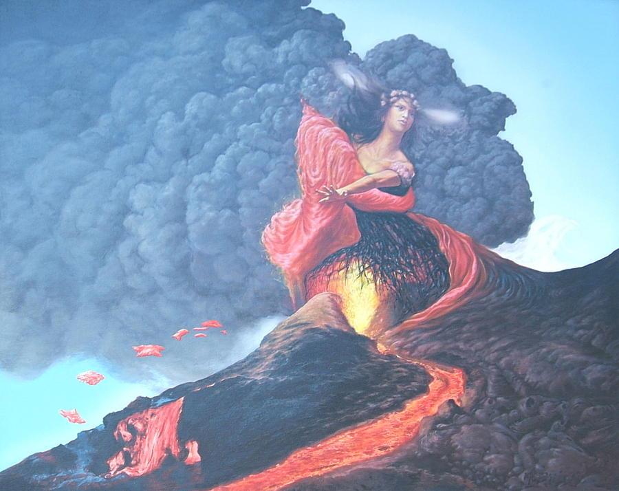 Pele Hawaiian Goddess Of Volcanoes Painting By Tom Hooper