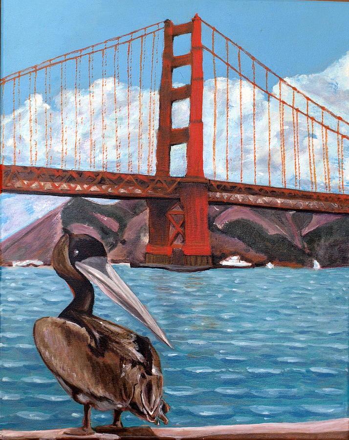 Golden Gate Painting - Pelican  And Bridge by Vera Lysenko