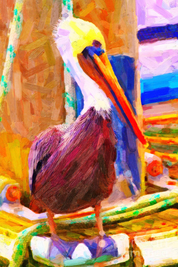 Animal Photograph - Pelican On The Dock by Wingsdomain Art and Photography