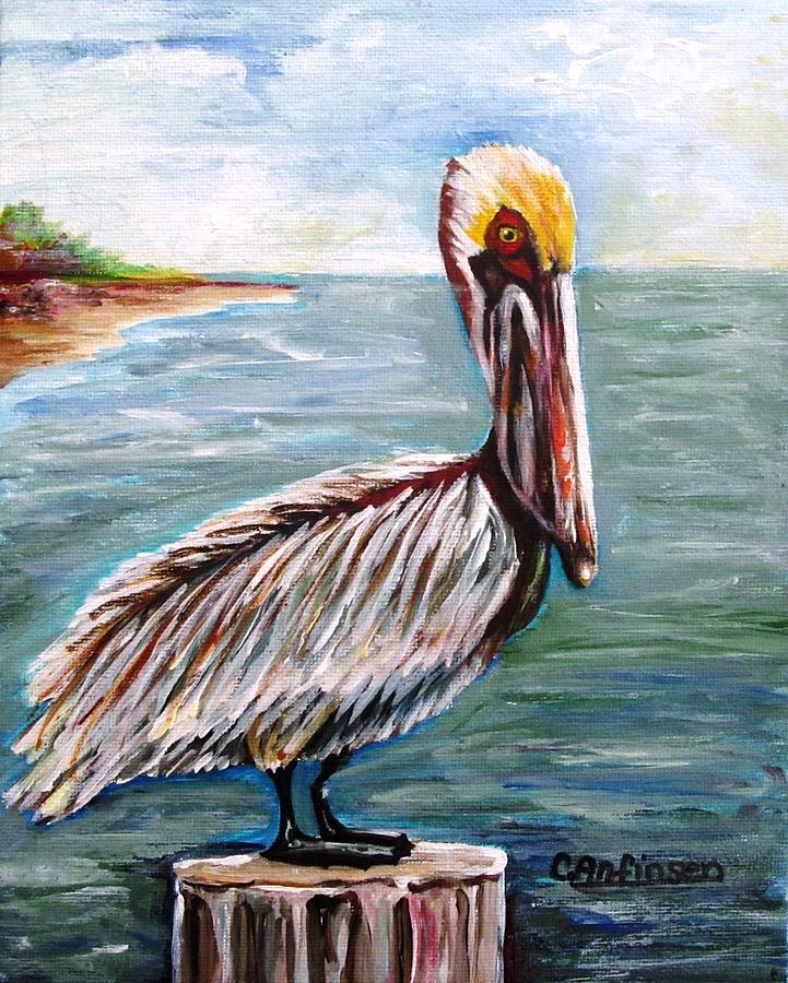 Pelican Painting - Pelican Pointe by Carol Allen Anfinsen