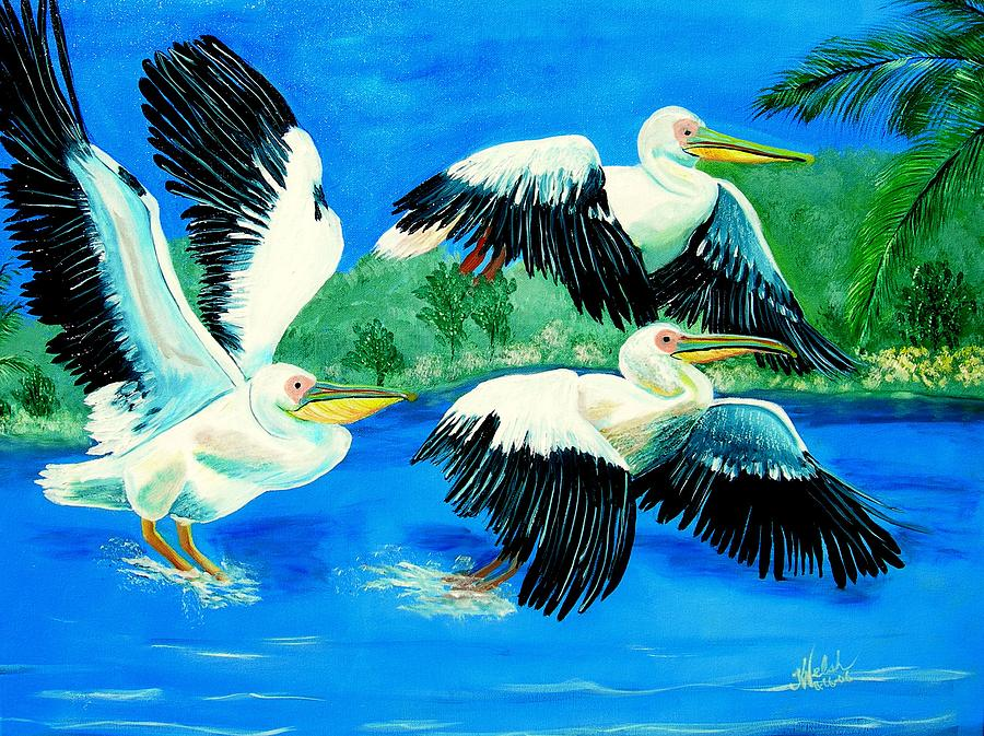 Pelican Painting - Pelican Trio by Kathern Welsh
