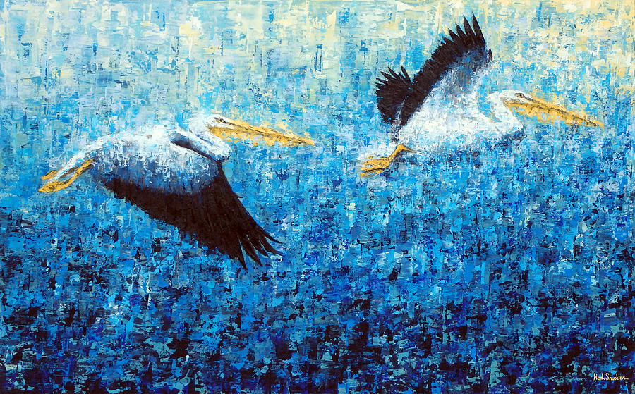 Pelicans Painting - Pelicans 2 by Ned Shuchter