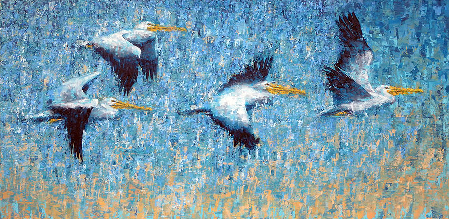 Pelicans Painting - Pelicans 3 by Ned Shuchter