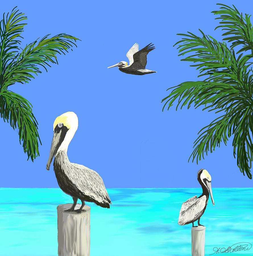 Brown Pelicans Painting - Pelicans In Meditation by Amy Scholten