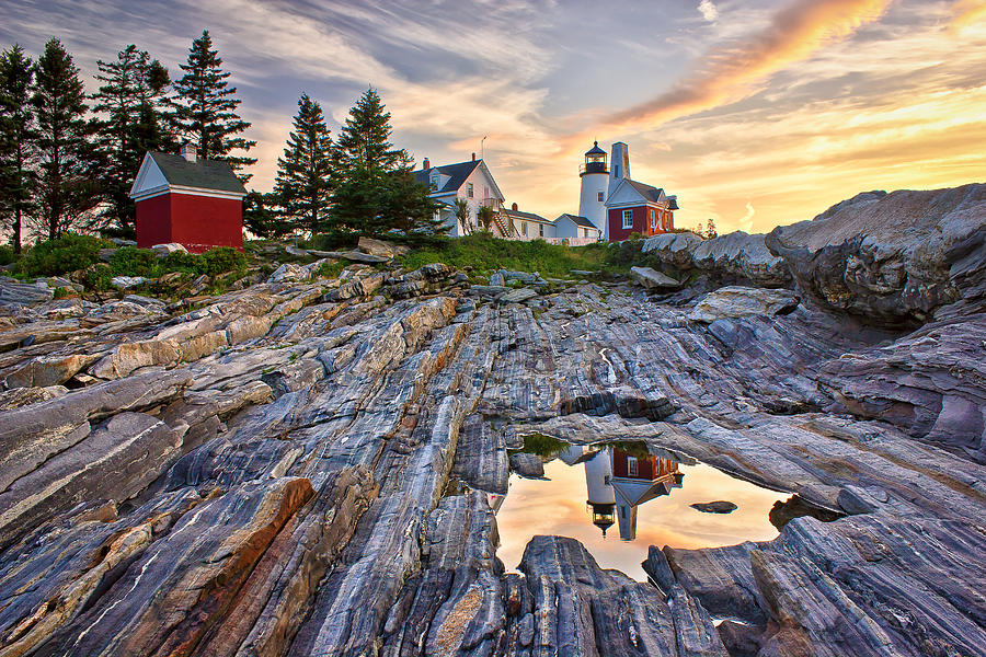 Attraction Photograph - Pemaquid Lighthouse Reflection by Benjamin Williamson