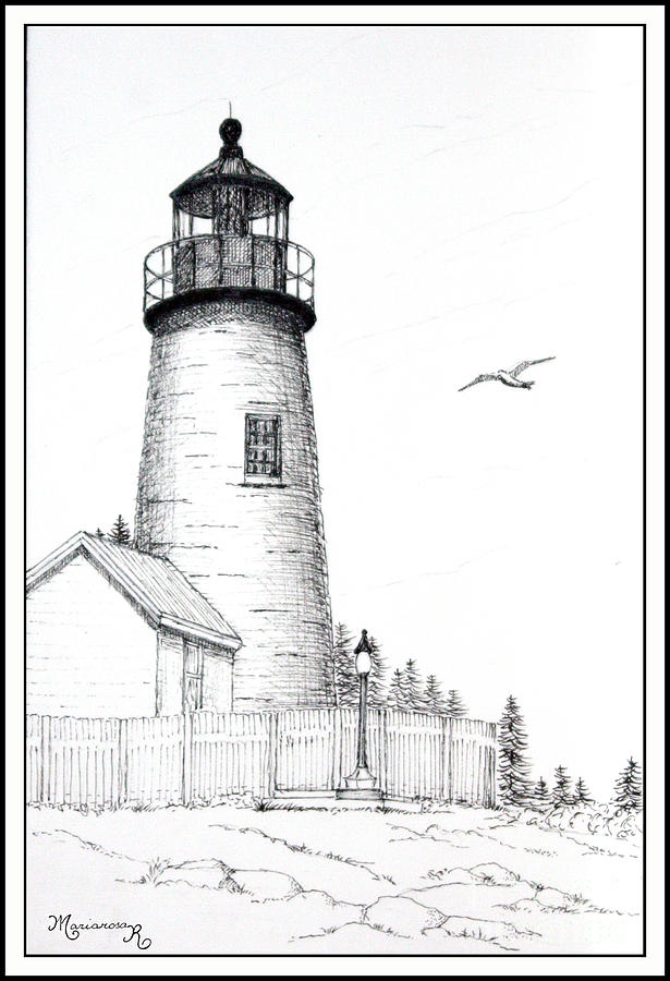 Line Drawing Lighthouse : Pemaquid point lighthouse drawing by mariarosa rockefeller