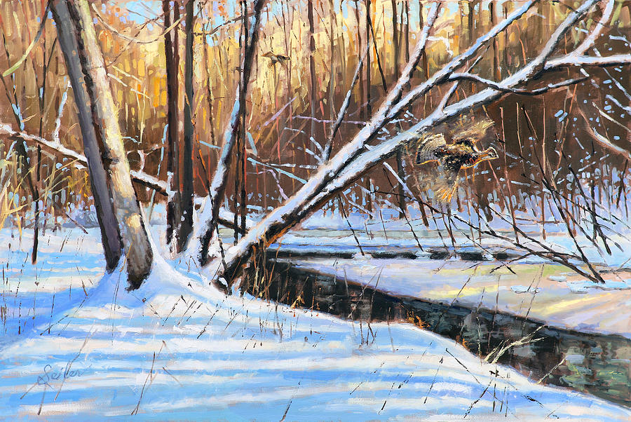 Wisconsin Painting - Peme Bon Won River Fly By by Larry Seiler