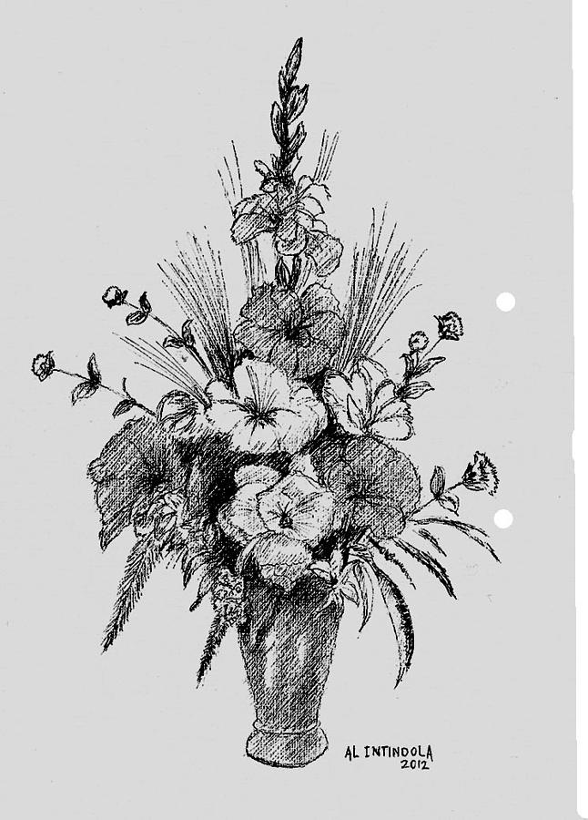 Pen And Ink Flowers Drawing by Al Intindola