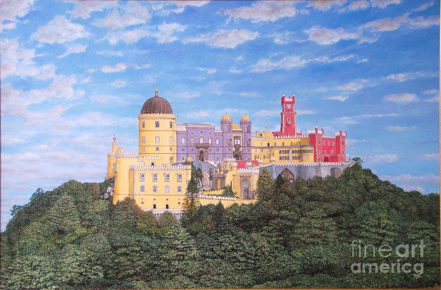 Landscape Paintings Painting - Pena Palace Sintra - Palacio De Pena Sintra by Carlos De Vasconcelos Tavares