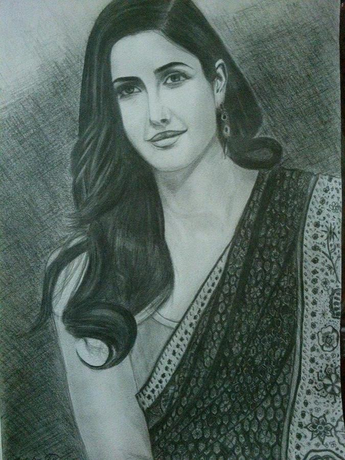 Portrait drawing pencil sketch of katrina kaif by parvez khasim