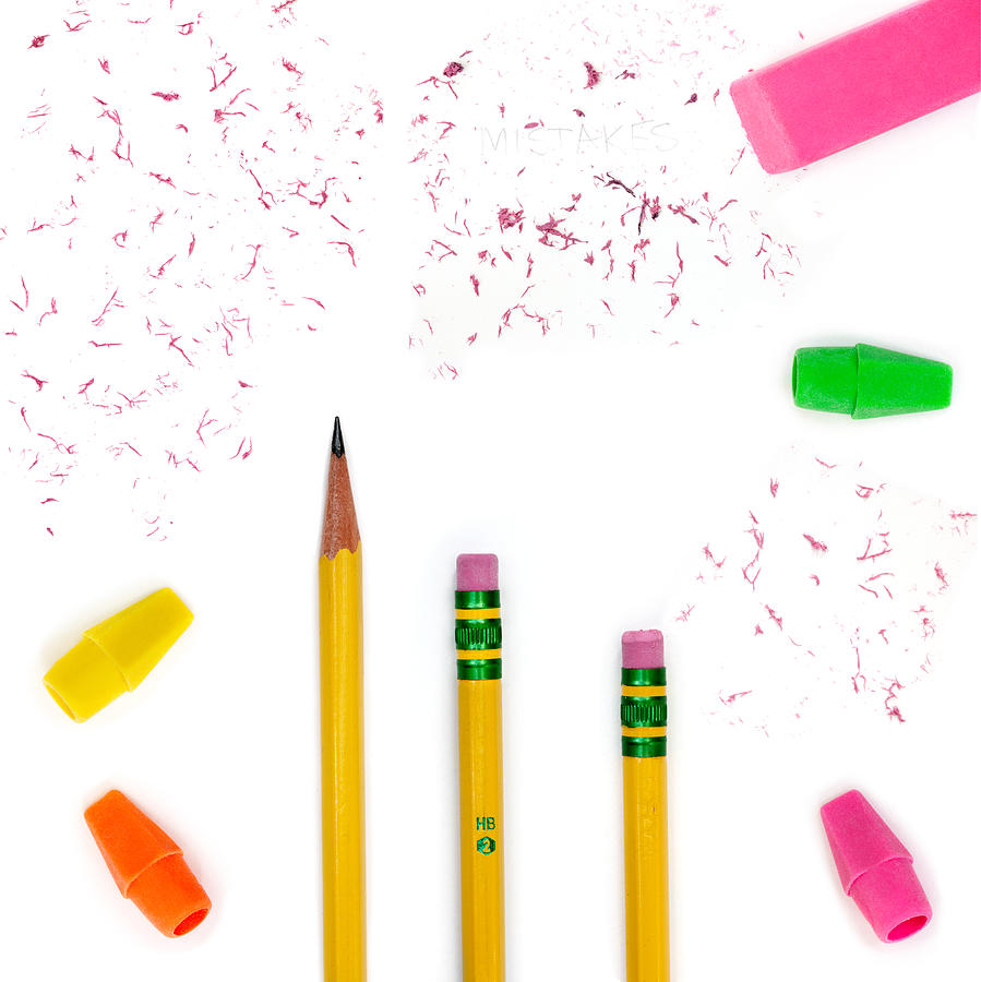 Pencil Photograph - Pencils And Erasers by Jo Ann Snover