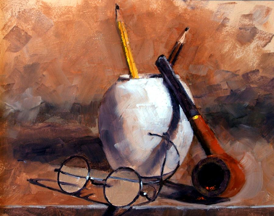 Still Life Painting - Pencils And Pipe by Jim Gola