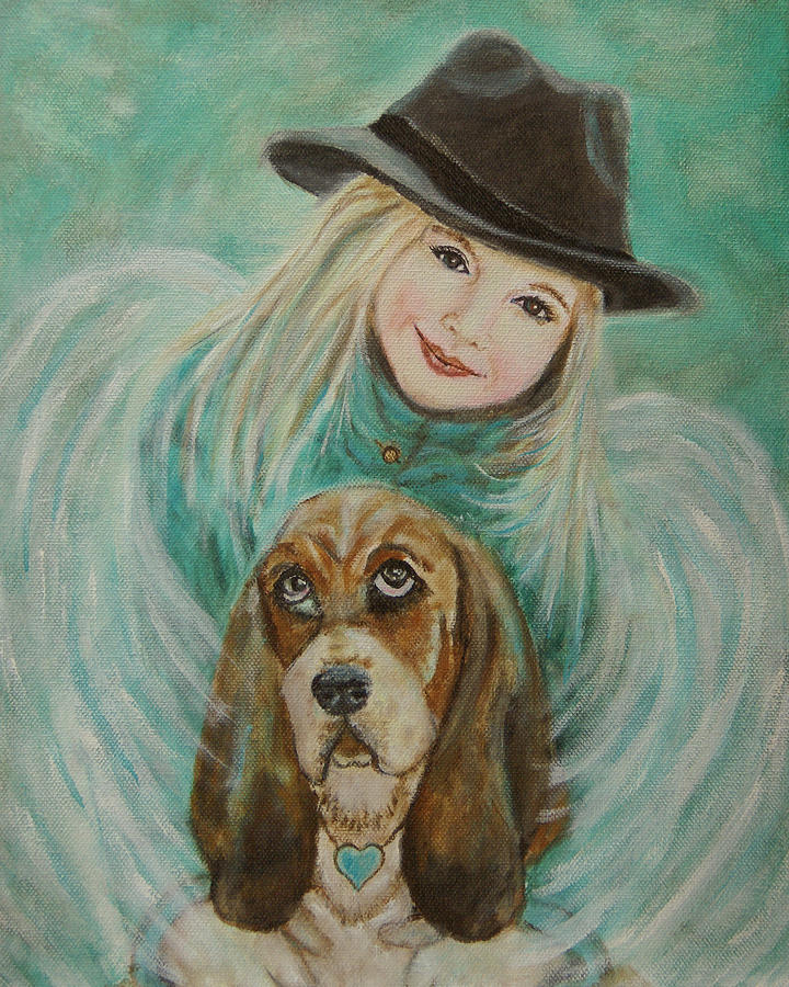Angel Painting - Penelope And Charlie Little Angel Of Faith And Loyalty by The Art With A Heart By Charlotte Phillips