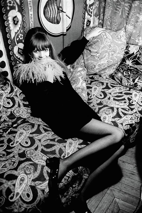 Penelope Tree Sitting On A Paisley Couch Photograph by Arnaud de Rosnay