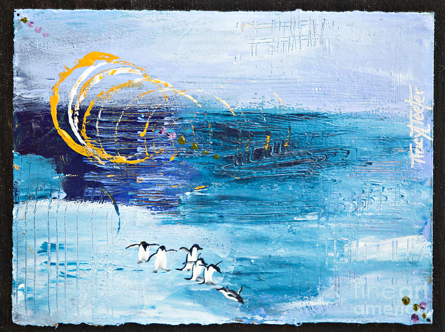 Abstract Painting - Penguins Abstract by Tracy L Teeter