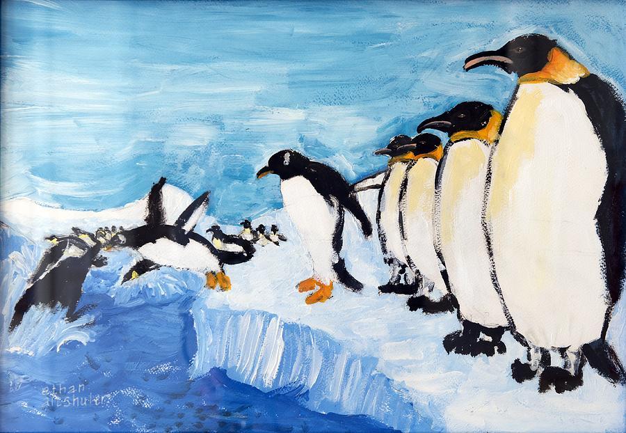 Penguins Painting by Ethan Altshuler