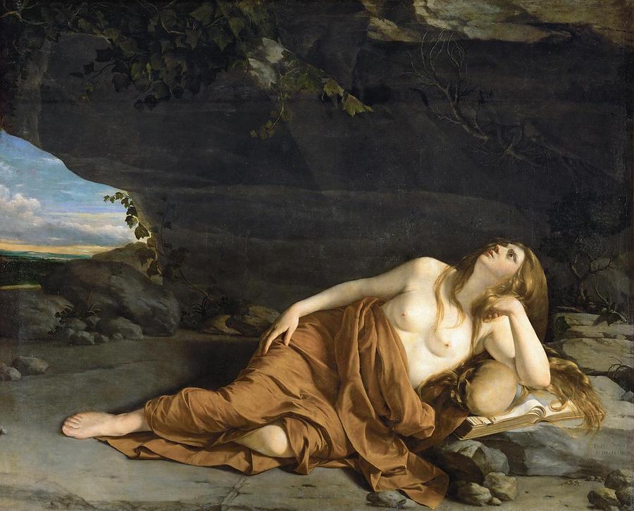 Orazio Gentileschi Painting - Penitent Mary Magdalene by Orazio Gentileschi