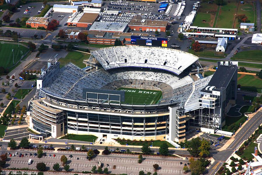 Penn State Photographs Photograph - Penn State Beaver Stadium Aerial by Mattucci Photography