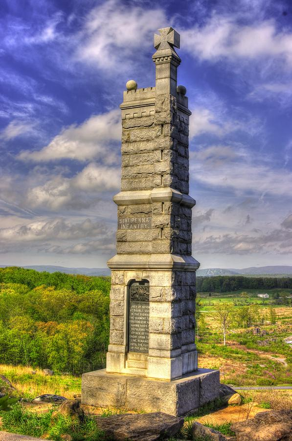 Civil War Photograph - Pennsylvania At Gettysburg - 91st Pa Veteran Volunteer Infantry - Little Round Top Spring by Michael Mazaika
