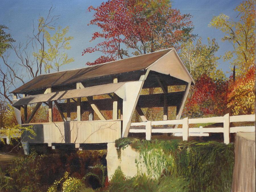 Covered Bridge Painting - Pennsylvania Covered Bridge by Barbara McDevitt