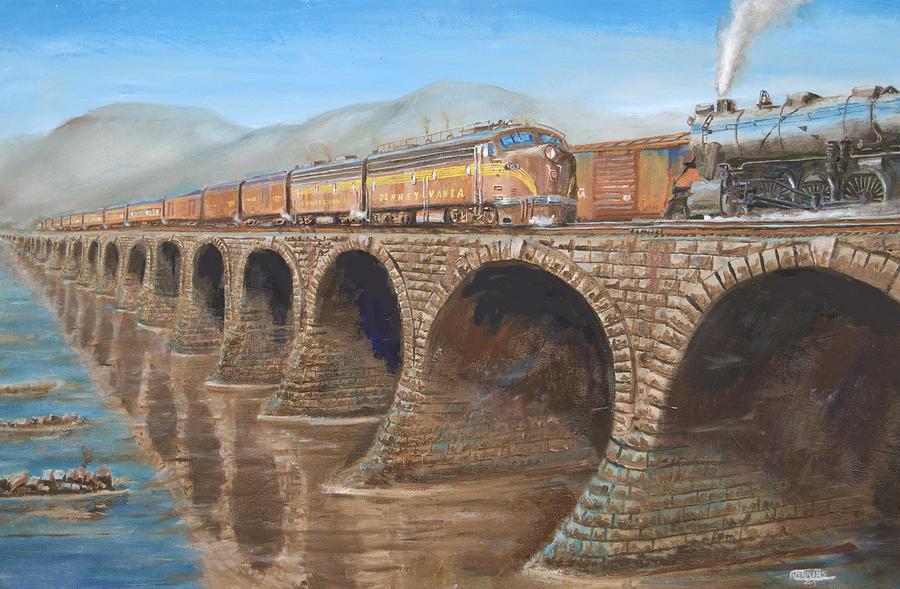 Train Painting - Pennsylvania Railroad On The Rockville Bridge by Christopher Jenkins
