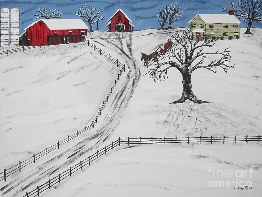Horse Painting - Pennsylvania Sleigh Ride by Jeffrey Koss