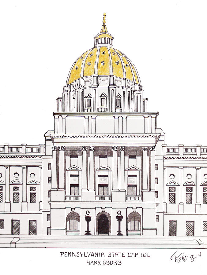 Pennsylvania State Capitol Drawing by Frederic Kohli