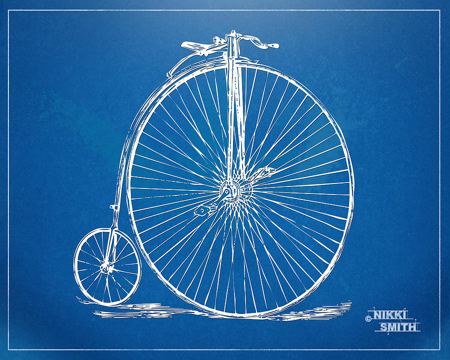Penny farthing 1867 high wheeler bicycle blueprint digital art by penny farthing digital art penny farthing 1867 high wheeler bicycle blueprint by nikki malvernweather Images