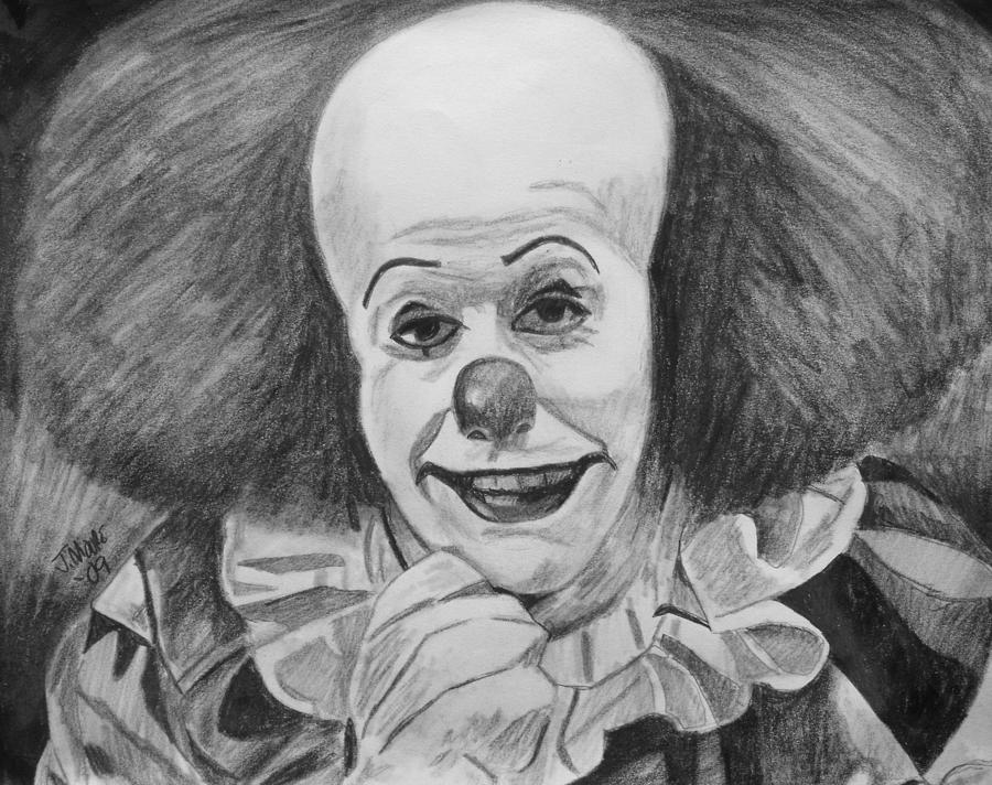 Pennywise Clown Horror Tim Curry Stephen King Drawing - Pennywise by Jeremy Moore