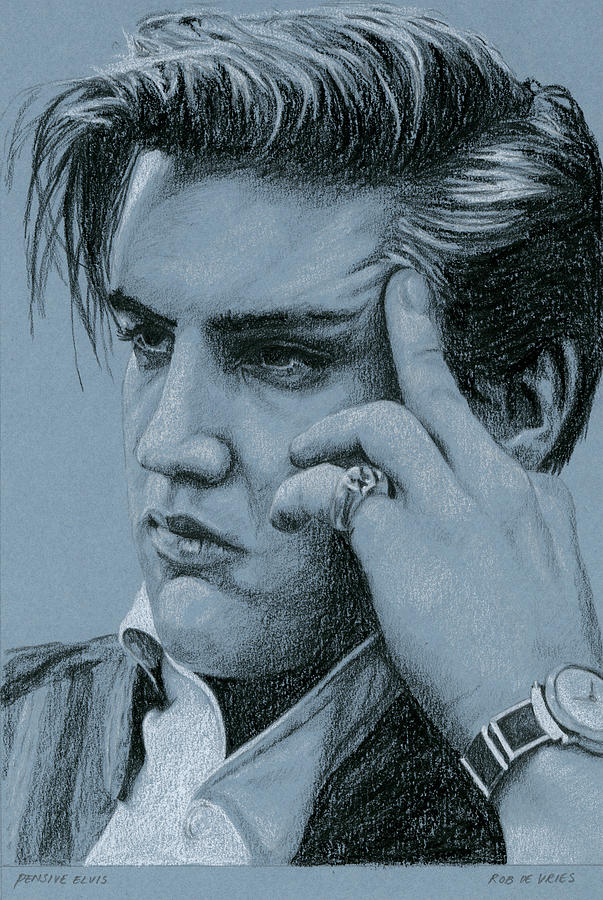 Elvis Drawing - Pensive Elvis by Rob De Vries