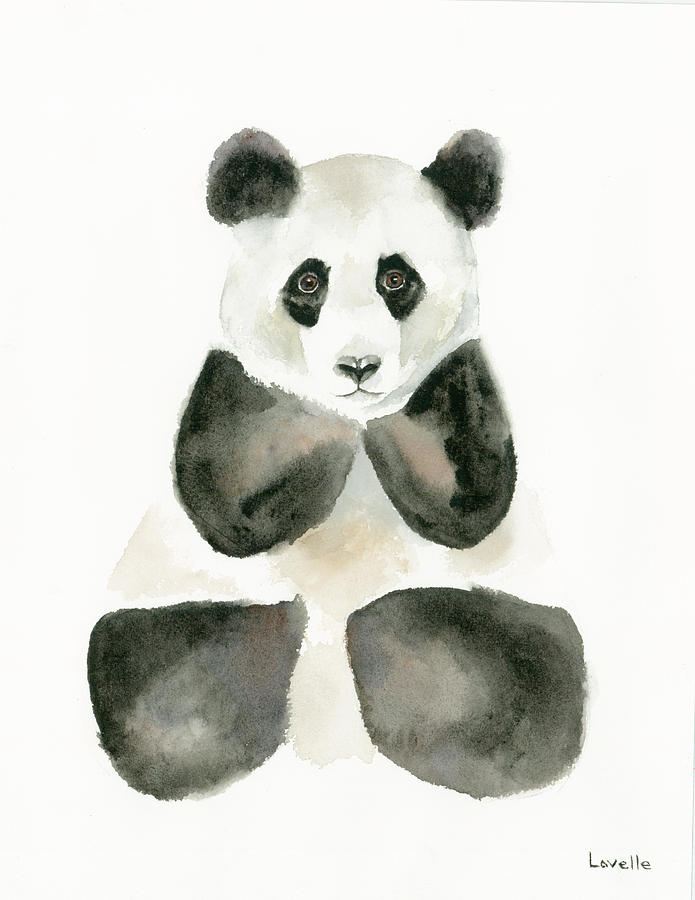 Watercolors Painting - Pensive Panda by Kimberly Lavelle