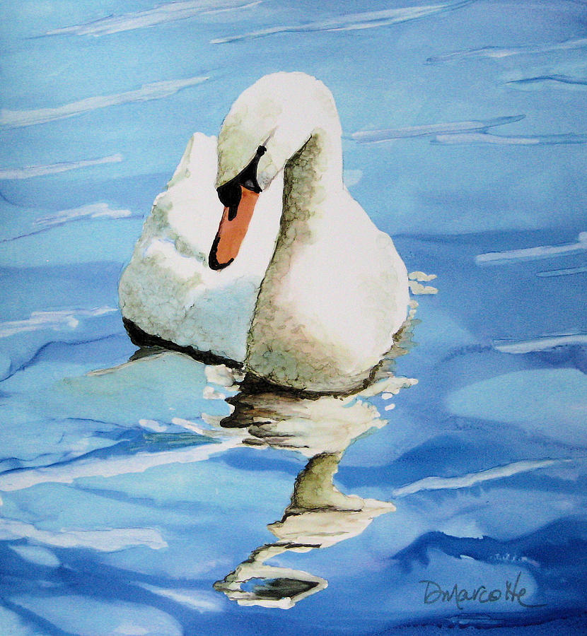 Swan Painting - Pensive Swan by Diane Marcotte