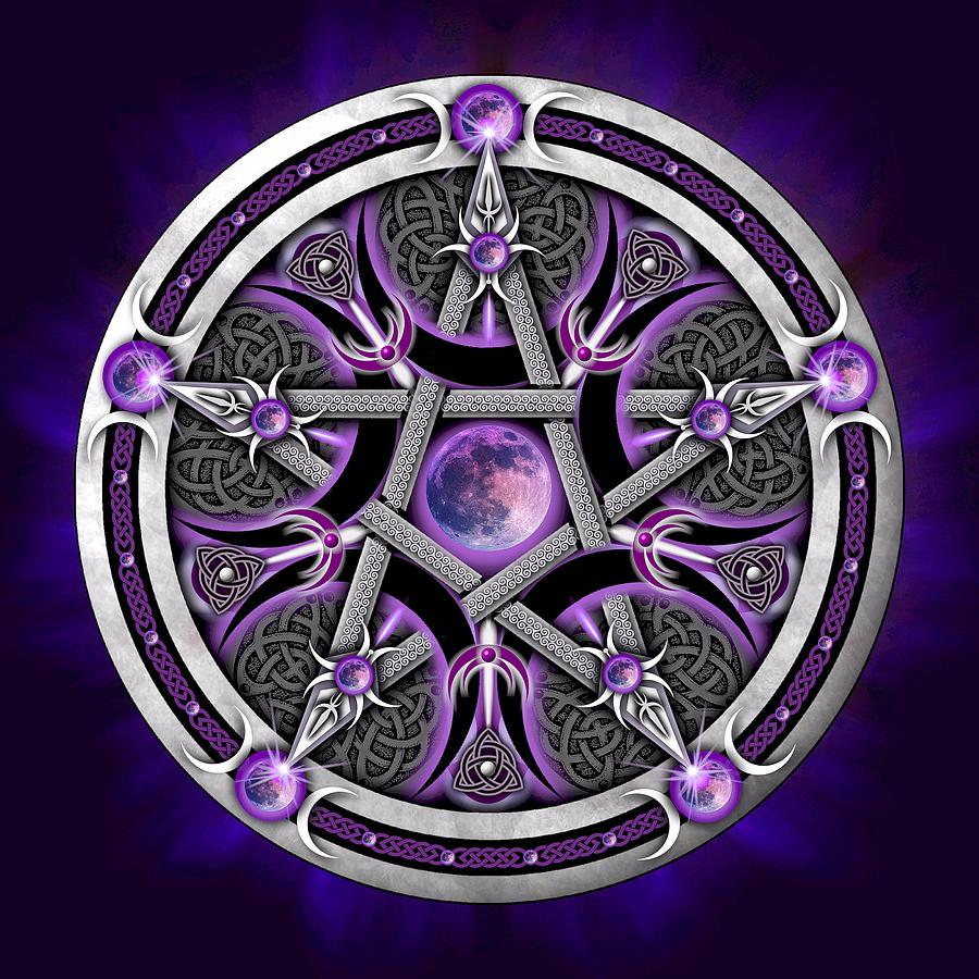 Pentagram Digital Art - Pentacle Of The Purple Moon by Ricky Barnes