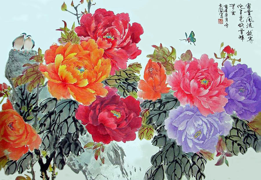 Pink Peonies Photograph - Peonies And Birds by Yufeng Wang