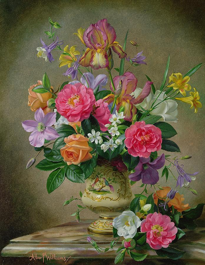 Still-life Painting - Peonies And Irises In A Ceramic Vase by Albert Williams